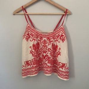 Flying tomato red and cream cropped tank size S
